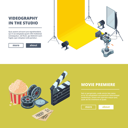 Video and photo production. Vector template of horizontal banners. Studio film movie, video clapboard and equipment illustration