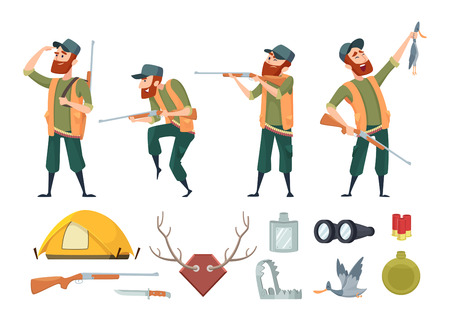 Hunters equipment. Various tools for duck hunters. Illustration of hunter and gun, equipment weapon Vettoriali