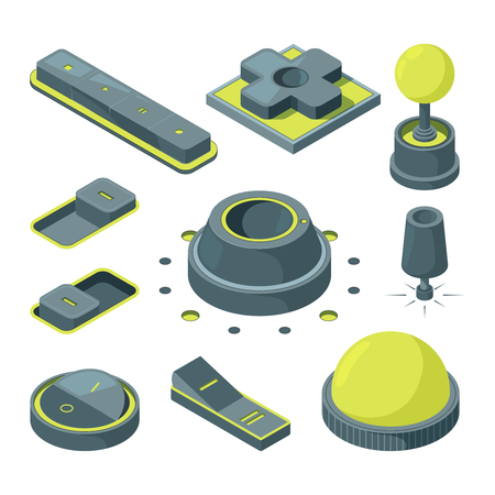 UI 3D buttons. Isometric pictures of various buttons. Web element start round, power switch, vector illustration