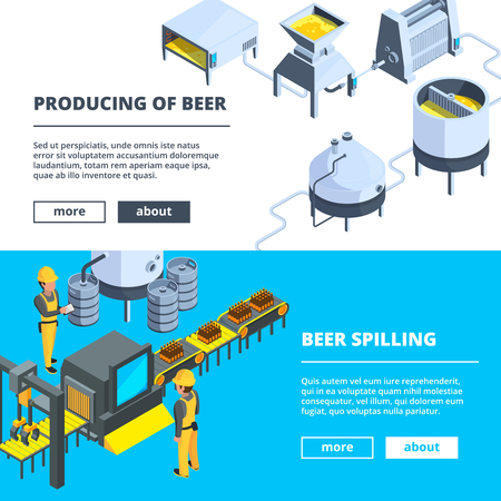Brewery banners. Vector isometric illustrations of beer production. Brewing conveyor, beer spilling Vettoriali