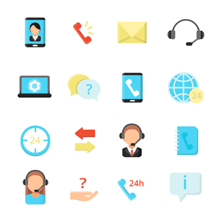 Call center symbols. Various icon set of call center