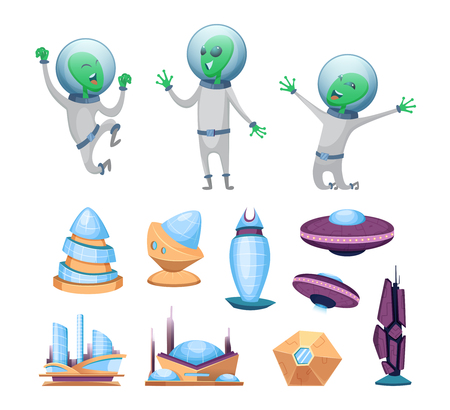 Space futuristic buildings and ufo ships. Various characters of aliens. Humanoid alien, modern building and shuttle ufo illustration