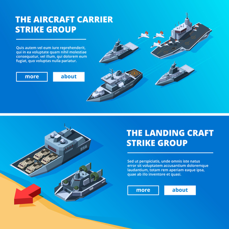 Banners with military boats. Vector pictures of warships. Military boat transportation, navy vessel illustration Vektorové ilustrace