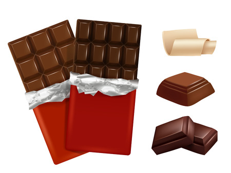 White and dark chocolate. Vector pictures of different pieces of chocolate. Sweet chocolate dessert, food candy yummy illustration Vetores