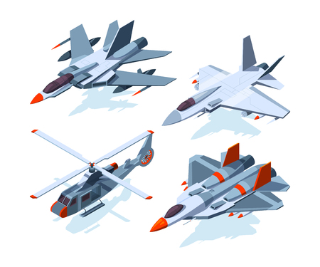 Military aircrafts isometric. 3D airplanes isolate on white. Aircraft and airplane, flight air plane, aviation transport vector illustration 스톡 콘텐츠