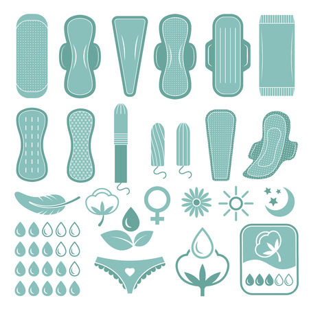 Monochrome symbols of feminine care and hygiene. Pictures for labels or badges design. Vector hygiene and clean feminine, pad cotton for sanitary illustration