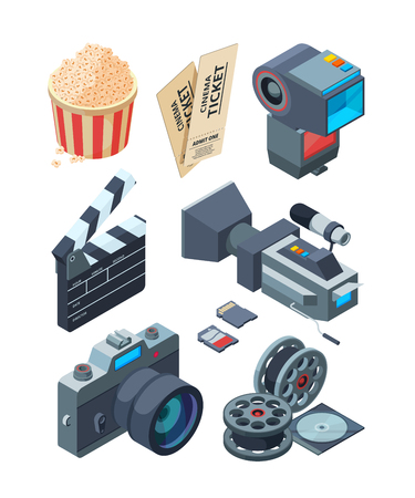 Isometric video cameras. Tools for video production. Vector clapboard and ticket illustration