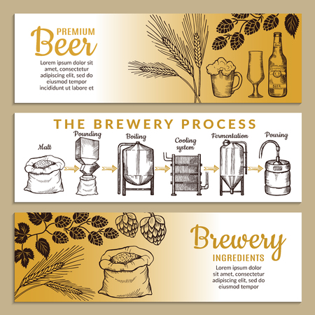 Banners set of brewery. Illustration of beer production. Vector alcohol brewery beer, production drink