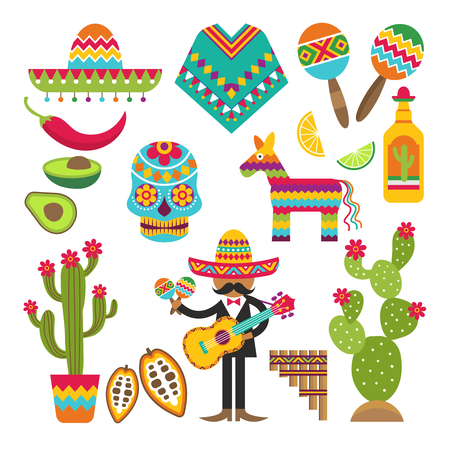 Mexican symbols. Vector design template of Traditional Mexican elements. Mexico and sombrero, guitar and maracas, cactus and tequila illustration