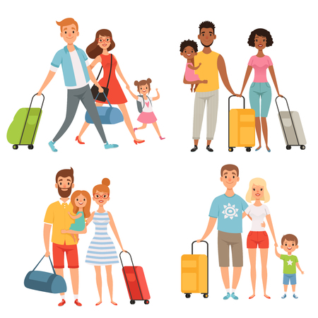 Various characters of happy family at summer travelling. Happy people with suitcase and bag illustration