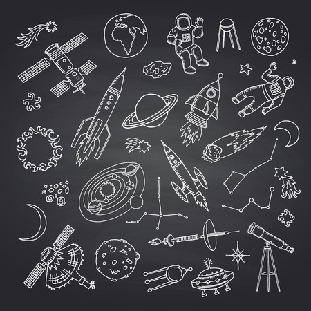 Vector hand drawn space elements rocket and asteroid on black chalkboard illustration