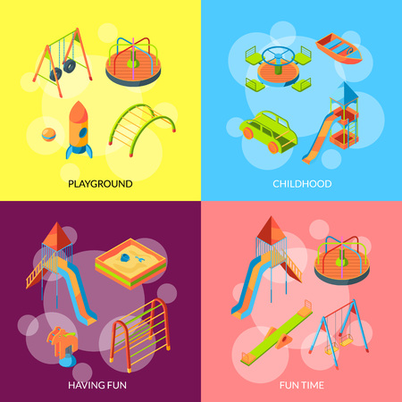 Vector set of banner or poster with isometric playground objects concept illustration