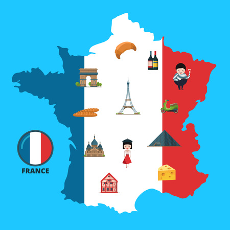 Vector cartoon France sights on France map illustration