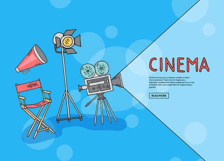 Vector cinema doodle icons background with place for text illustration Vettoriali