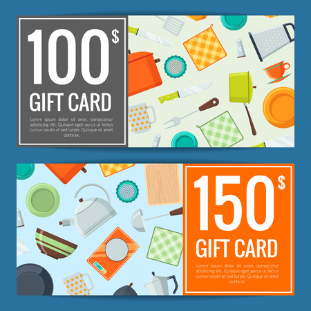 Vector colored kitchen utensils flat icons discount or gift card of set voucher templates illustration
