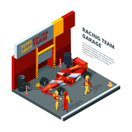 Race car at station. Isometric composition isolate on white. Sport car automobile, team machine racing bolide, vector illustration