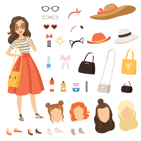 Clothing of fashionable girl. Cartoon female character with various fashion accessories and clothes. Vector woman fashion hairstyle and clothing illustration