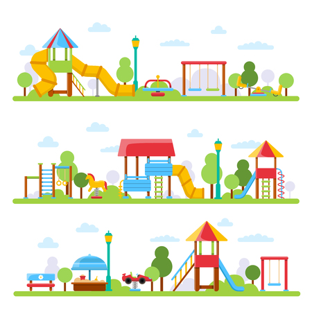 Horizontal illustrations with various views of children playground in urban park. Vector kindergarten scene for play and game