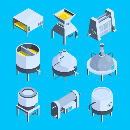 Brewery isometric. Vector plant for production of beer. Production isometric beer, brewery and brewing beverage process illustration Vector Illustration