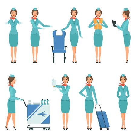 Personajes de azafata. Varias mascotas en poses de acción. Trabajadores de aeropuertos y vuelos. Azafata de línea aérea de vuelo, asistente en servicio uniforme, ilustración vectorial