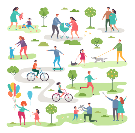 Outdoor activism in urban park. Bicycle riders and walking peoples. Landscape nature, activity bicycle sport illustration vector