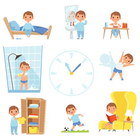 Rutina diaria. Niños haciendo varios estuches durante todo el día. Vector ilustración de actividad, comida y sueño diario del niño