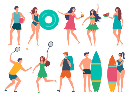 Groups of summer peoples. Vector stylized characters isolate. Illustration of young woman and man. Group sport people with surfboard