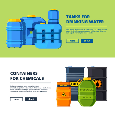 Banners with barrels. Various horizontal banners template with illustrations of different water and oil tanks. Vector barrel oil and water drinking cask