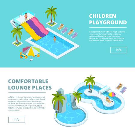Bandiere orizzontali con immagini isometriche di parchi acquatici e parchi giochi per bambini