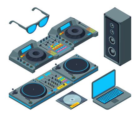 Studio de DJ. Outils de musique pour la fête. Equipement pour mixeur audio et enregistrement stéréo isométrique. Illustration vectorielle Vecteurs