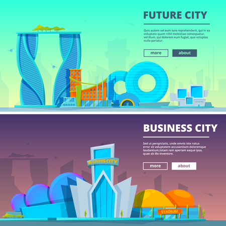 Futuristic buildings. Vector illustrations of buildings in cartoon style Çizim