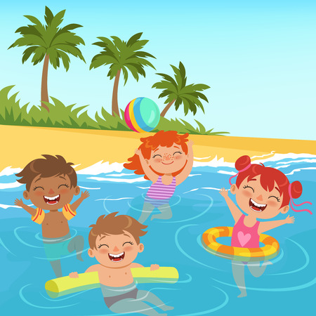 Background illustrations of happy kids in pool. Child summer beach, coast sand with green palm vectorion,