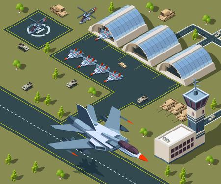 Lotnisko wojskowe izometryczne. Low poly 3d samolotów usa