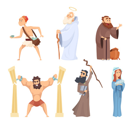 Historical illustrations of christian characters of holy bible Illustration