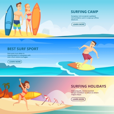 Surfing banners illustrations. Vector design template surfing camp banner, poster web with sand beach woman with surfboard