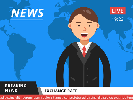 Newscaster at television. Hot breaking news. Television studio news tv, journalist reporter vector illustration Illustration