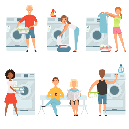 Laundry service characters. Vector mascot design. Man and woman waiting washer machine illustration 向量圖像