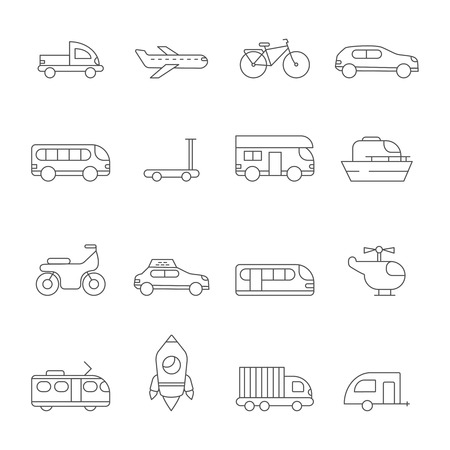 Transportation icon. Linear illustrations of various urban transport. Outline bus and train, traffic public, travel bicycle vector