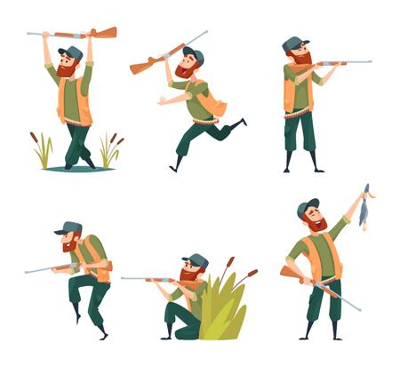 Personnages de chasseurs. Illustrations vectorielles de dessins animés de diverses mascottes de chasseurs. Caractère de chasseur avec fusil et canard