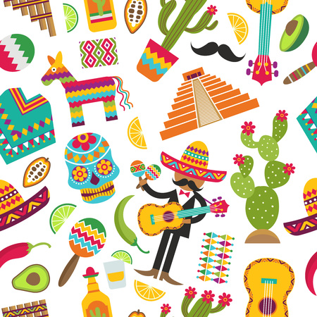Mexican seamless pattern. Colored pictures of various mexican symbols. Vector sombrero and skull, guita and, maracas, cactus and tequila illustration