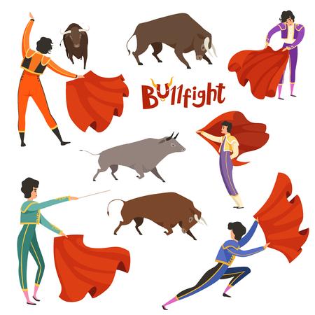 Bullfighting corrida. Vector illustration of matador and bull in various dynamic poses. Bullfight and bullfighting, toreador and bull, corrida performance