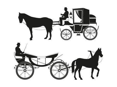 Carruajes de época con caballos. Imágenes vectoriales de transporte de cuento de hadas retro. Ilustración carro antiguo, diligencia con silueta negra cochero