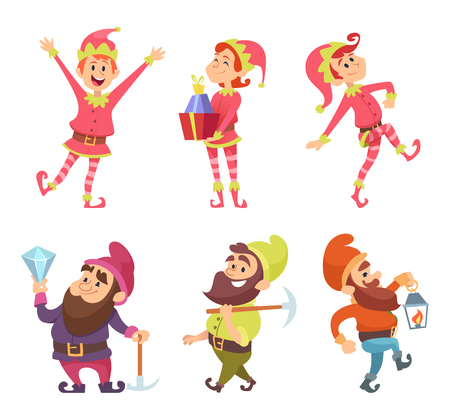 Dwarves and elves. Funny fairytale characters in dynamic poses. Vector elf and gnome, dwarf character figure illustration