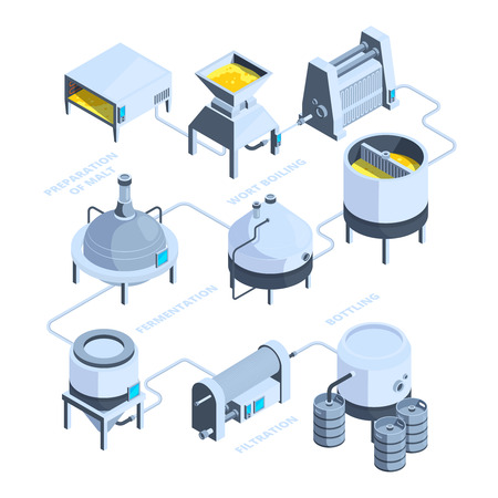 3d landscape of brewery. Vector isometric background of plant for beer production. Beer brewery, brewing production, filtration and boiling illustration Vector Illustration