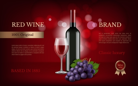 Wine poster advertising. Realistic pictures of grapes and wine. Illustration of wine bottle alcohol with glass realistic, poster advertising promotion vector