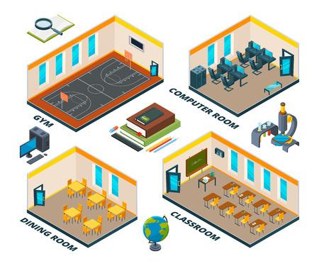 Isometrisches Schulinterieur. Gebäude mit verschiedenen Klassen des Instituts oder der Schule. Isometrischer Plan der Bildungsschule, Klassenzimmer und Esszimmer und Fitnessraum. Vektor-Illustration Vektorgrafik