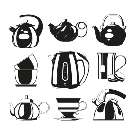 Black kettles. Vector silhouettes of various teapots. Illustration of drink tea, morning teatime, teacup dishware