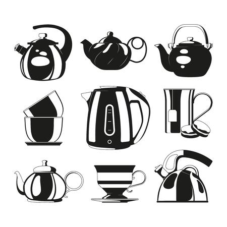 Bouilloires noires. Silhouettes vectorielles de diverses théières. Illustration de boire du thé, l'heure du thé du matin, de la vaisselle de tasse de thé