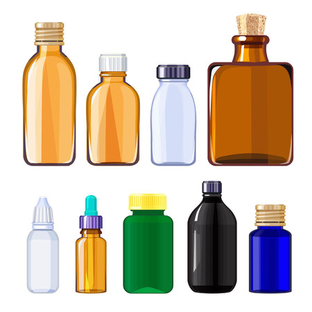 Bottles for drugs and pills. Medical bottles for liquid drugs. Vector medicine bottle vector, container pharmaceutical illustration