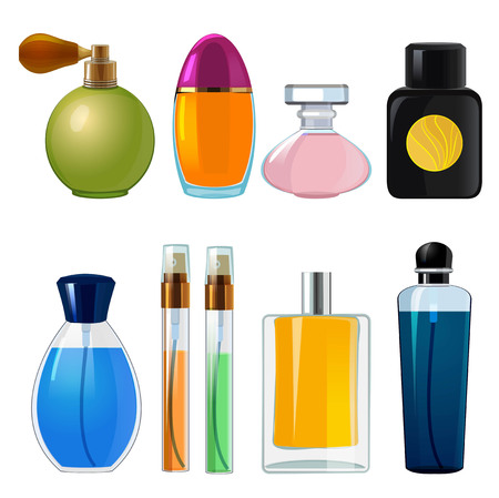 Perfumes bottles. Various flasks and glass bottles for women perfume. Cosmetic bottle container, perfume sprayer illustration